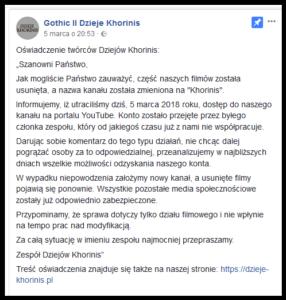 Dzieje Khorinis oświadczenie FB